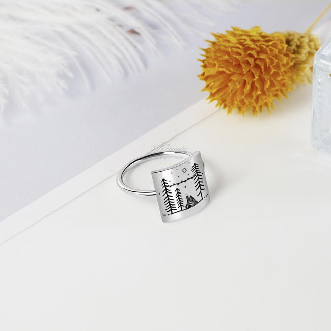 S925 Sterling Silver Snow House Ring Nature Camping Ring Gift for Outdoor Lover