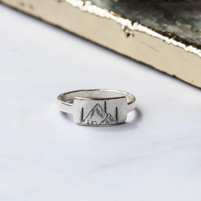 S925 Sterling Silver Mountain Nature Ring