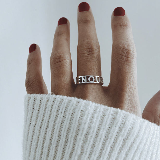 I Am Enough Stacking Band Ring Silver Self Love Ring Recovery Ring You Are Enough Motivation Jewelry Gift Sister Friend Daughter Mom