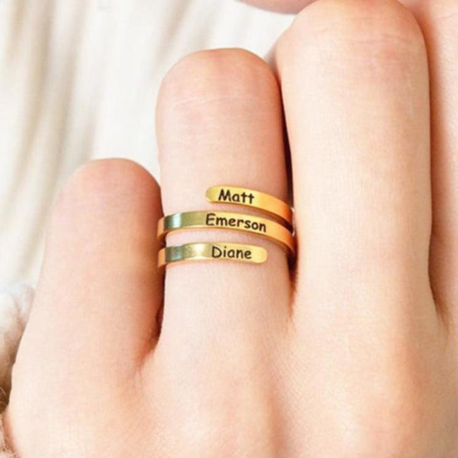 Family Ring Custom Name Ring Personalized Jewelry Mother Daughter Gift 925 Silver Engraved Initials Ring For Best Friend