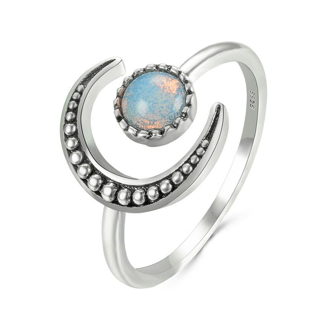 Female Small Moonstone Open Adjustable Ring Silver Color Bridal Engagement Ring Vintage Wedding Rings For Women
