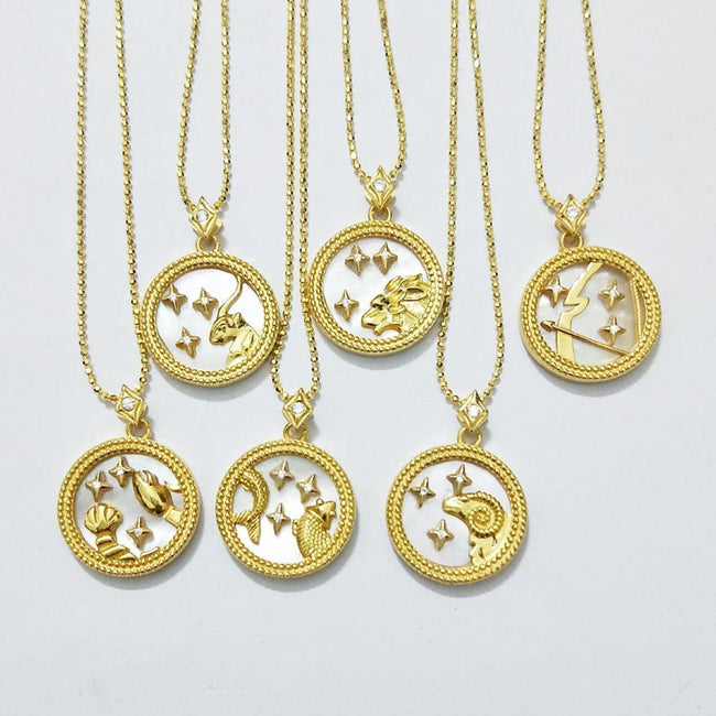 High Quality S925 Sterling Silver Natrual Oysters Gold Shell Zodiac Necklace For Women