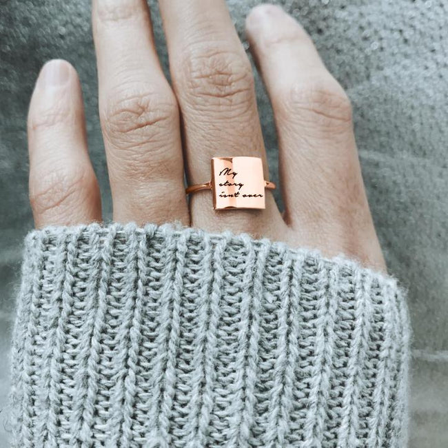 Fashion 925 Silver Believe in yourself Ring I am the best Ring My story isn't over Ring Positive Energy Sentence Ring