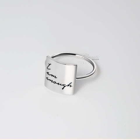 Fashion 925 Silver I Am Enough Everything will be OK Ring Positive Energy Sentence Ring Inspirational Ring
