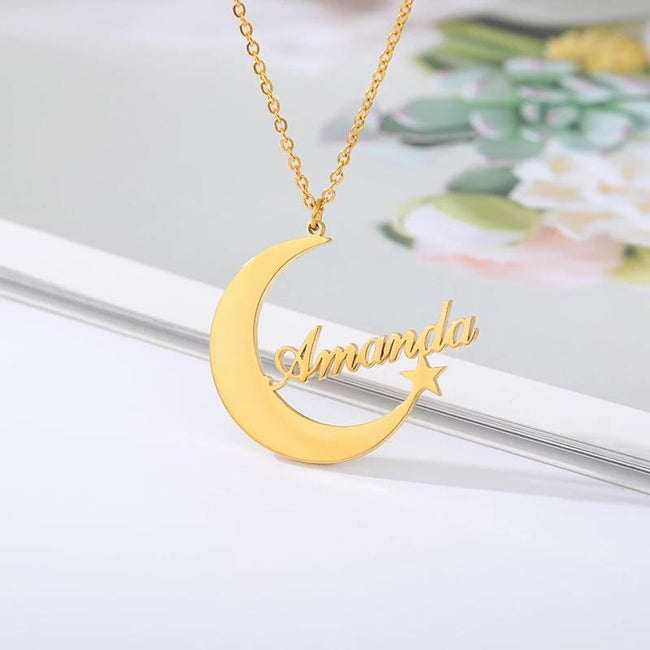 925 silver Personalized Custom English Name Necklace Female Creative  Moon Star Name Necklace Pendant Choker Jewelry