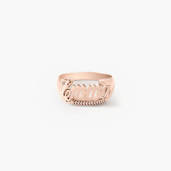THROWBACK NAME RING - ROSE GOLD PLATED