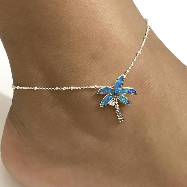 Butterfly Anklet Sterling Silver Beaded Ankle Bracelet Dainty Blue Opal Charm Anklet 925 Sterling Silver insect anklets enjoy life creative Palm Tree