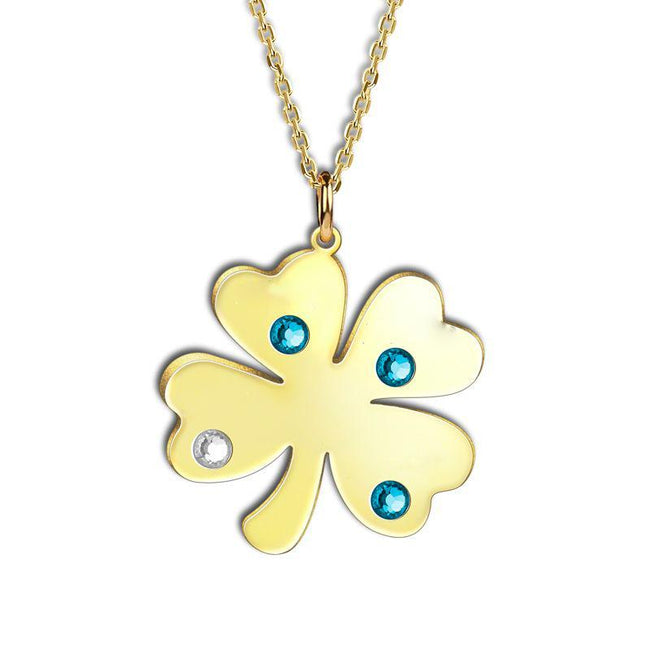 Personalized Four-leaf Engravable Necklace 925 Sterling Silver