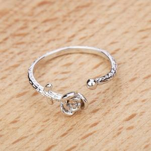 Literary and fresh forest rose S925 sterling silver ring index finger ring temperament open tail ring female