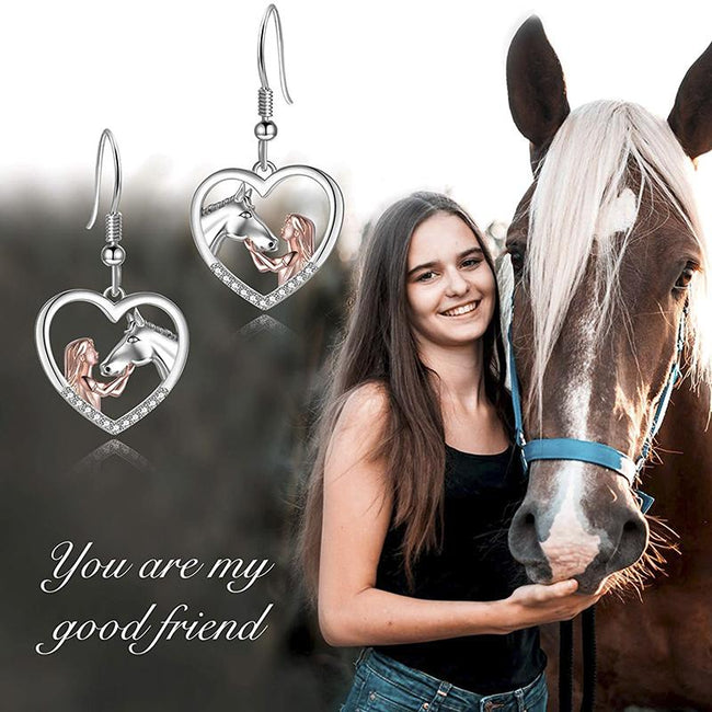 Horse Pendant Necklace Horse Earrings Sterling Silver Girls with Horse Gift for Women Girls stock enjoy life creative