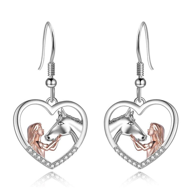Horse Pendant Necklace Horse Earrings Sterling Silver Girls with Horse Gift for Women Girls stock enjoy life creative Earrings