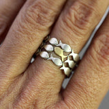 Sterling Adjustable Ring School of fish with one gold color Fish Swimming Upstream. Gift for her.