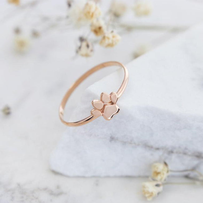 Paw Print Ring, 925 Silver Ring, Dainty Small Paw Band, Dog Paw Print, Solid Gold Ring, Pet Cat Paw, Gift For Her