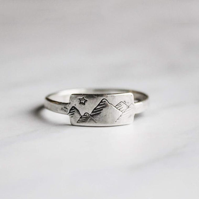 Silver Mountain Stacking Ring The Mountains Are Calling And I Must Go Minimalist Dainty Wanderlust Jewelry