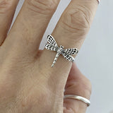 925 Sterling Silver Dragonfly Ring Spirit Ring Flying Insect Ring Boho Ring Nature Jewelry