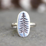 Tree Ring Nature Ring Silver Pine Tree Ring Sterling Silver Forest Ring Hiking Ring Ring for Hiker Hiking Jewelry