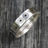 Personalized Daisy Ring 925 Sterling Silver Nature Ring Appreciate The Little Things