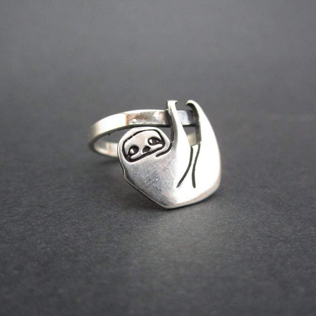 Sterling Silver Sloth Ring - Silver Sloth Ring - Sloth jewelry