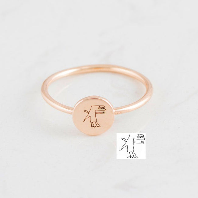 925 Sterling Silver Children Drawing Disc Ring Handwriting Jewelry Personalized Name Ring Dainty Circle Charm Ring