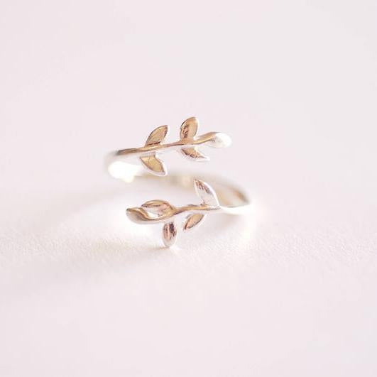 Sterling Silver Leaf Branch Ring, 925 Sterling Silver Leaf Ring, Rose Gold Leaf Ring. Layering Ring, Vine Ring, Laurel Ring, Nature Jewelry, twig ring