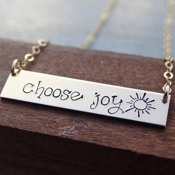 Inspirational Choose Joy Bar Necklace with Sunshine.925 Sterling Silver Inspirational Mantra Ring