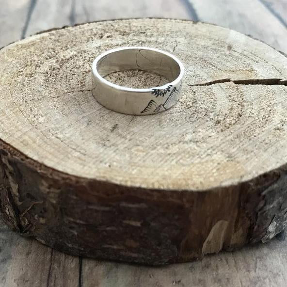Mountain Pine and Sun Ring Sterling Silver Hand Stamped Mountain Pine Tree and Sun Ring