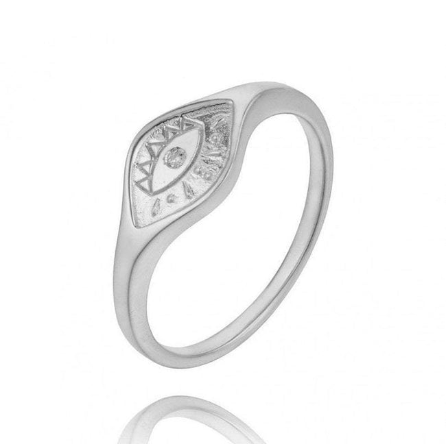Cz Evil Eye Engraved Signet Ring