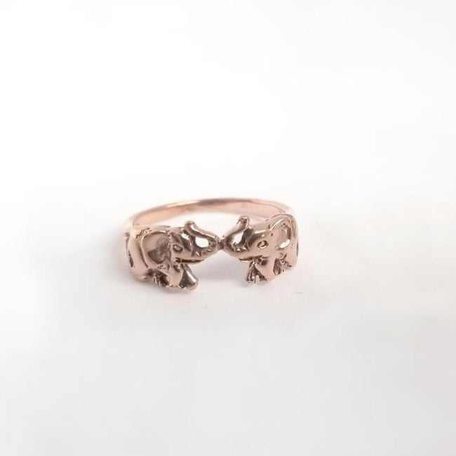 Love Elephant Ring - Sterling Silver with Yellow or Rose Gold Overlay, Amulet Ring, Good Luck Ring, Protective Elephant Ring
