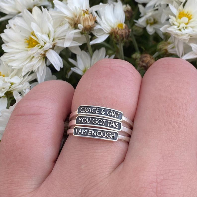 I Am Enough, Inspirational Ring, Personalized Ring, Motivational Gift, Best Friends, Soul Sisters, Sterling Silver Ring, Encouragement