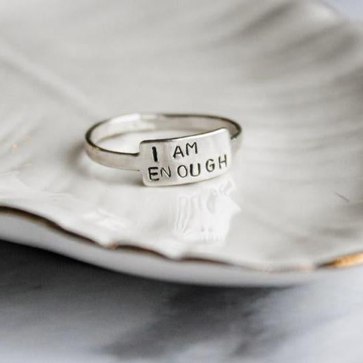 Personalized Silver Mantra Ring I Am Enough Stay Strong Just Dance Mantra Ring Motivational Ring Personalized Jewelry Self Love