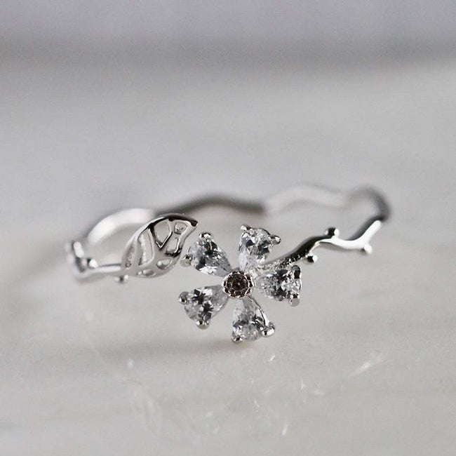 Dainty Flower Adjustable Ring Thumb Ring Open Ring Silver Bypass Ring Minimalist Stacking Ring