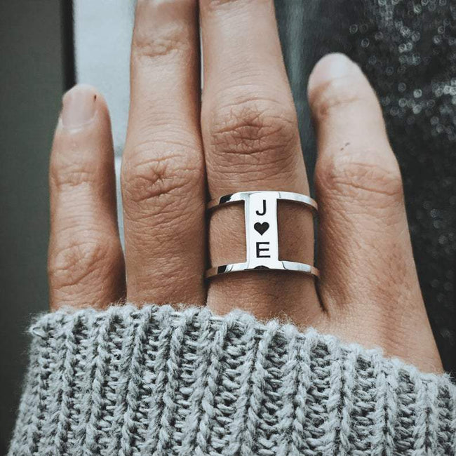 Promise Ring For Her Engraved, Simple Promise Ring, Best Friend Ring, Sister Ring, Custom Mom Ring with Kids Initials 2 3 Gift
