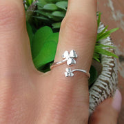 Womens Silver Clover Ring 925 Sterling Silver Shamrock Ring Adjustable Ring