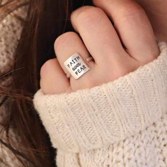 S925Faith Over Fear Quote Ring, Motivational Mantra Ring, Faith Quote Jewelry, Sterling Silver Finish, Inspirational Ring