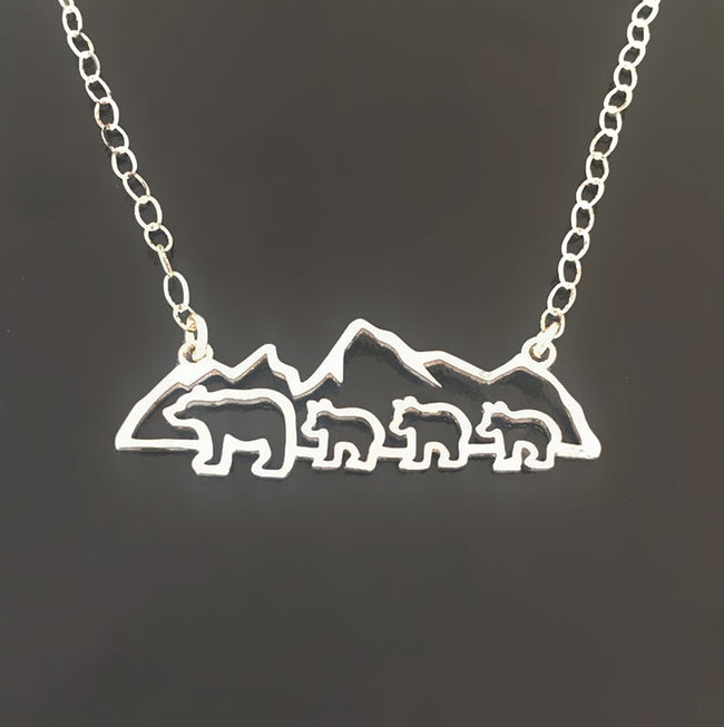 Mountain Mama Bear with 2 Cubs Necklace Sterling Silver Mama Bear Necklace Mothers Day Gift for Mom from Child Son Daughter Children Kids