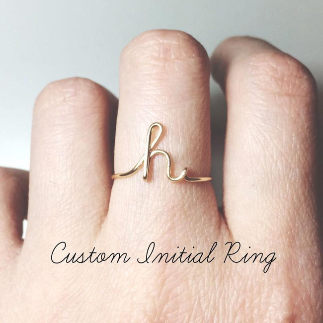 Custom Initial Ring sterling silver letter ring initial ringstack ringsname ringpersonalized bridesmaid giftwedding jewelry