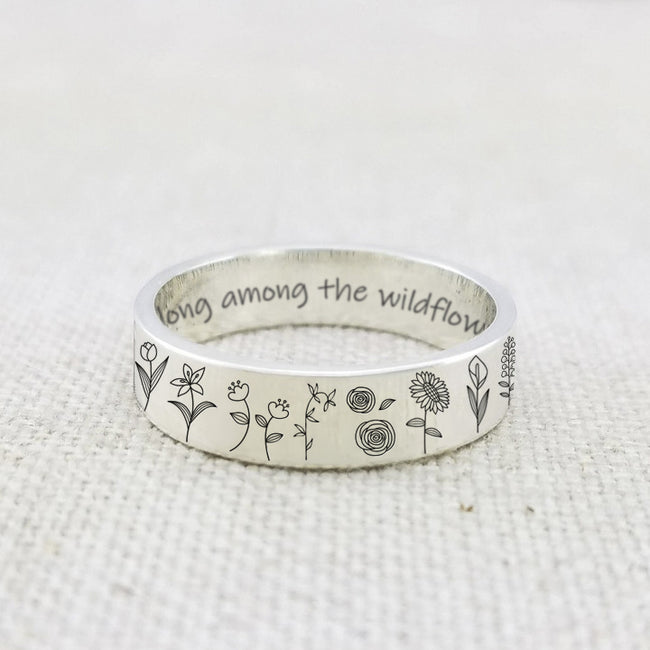 Wildflowers Ring S925 Silver For Nature Lover Gift