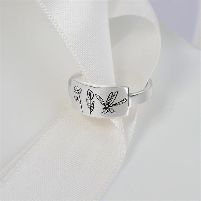 925 Sterling Silver Flower And Dragonfly Butterfly Ring Wildflower Nature Ring
