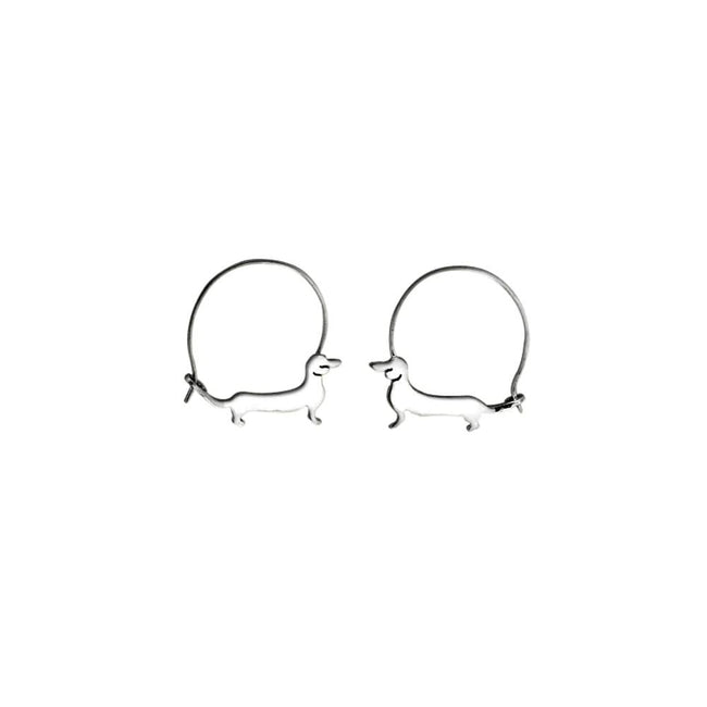 925 Silver Dachshund Stud Earrings - Silver/14K Gold-Plated |Line