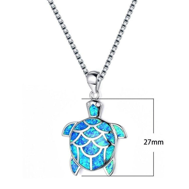 New Cute Long Chain Necklace 925 Sterling Silver Filled Animal Jewelry Blue Fire Opal Cute Turtle Pendant Necklace For Women Gifts animal necklace Romanticwork Jewelry