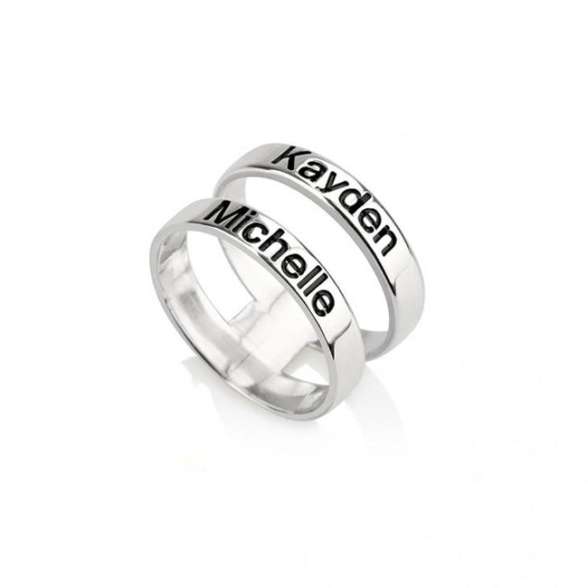 Sterling Silver Layered Name Ring