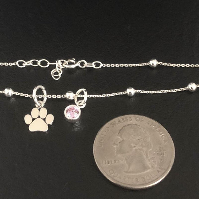 Paw Print Anklet, Sterling Silver Beaded Ankle Bracelet, Good Luck Charm Jewelry, Cat Paw Anklet, Dog Paw Anklet animal anklet Romanticwork Jewelry