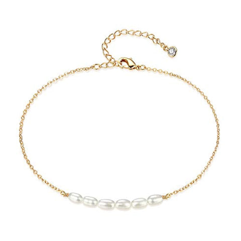 Pearl Anklet Handmade 925 Silver Dainty Boho Beach Cute Ankle Bracelet Adjustable Wafer Layered Turquoises Dangle Coins Foot Chain for Women Pearl Anklet Mevecco gold chain+ white pearl