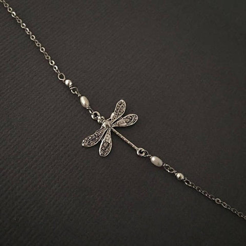 Silver Dragonfly Anklet Adjustable little Dragonfly Jewelry Summer Gift S925 Sterling Silver Stackable anklet enjoy life creative