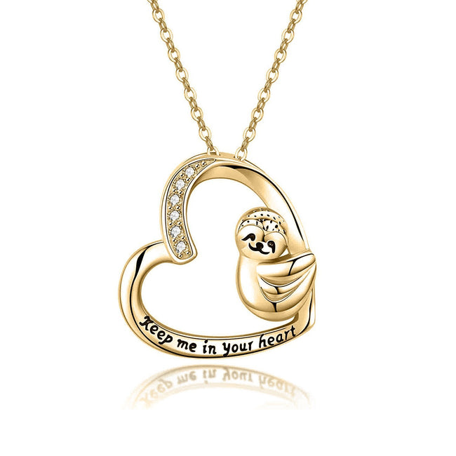 "925 Sterling Silver Sloth Heart ""Keep me in your heart"" Pendant Necklace for Women, Daughter, Mom"