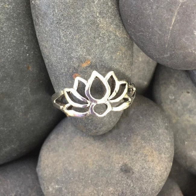 Sterling Silver Toe Ring, Midi Ring, Blooming Lotus Flower, Open Adjustable Ring, Toe Jewelry flower toe ring Romanticwork Jewelry