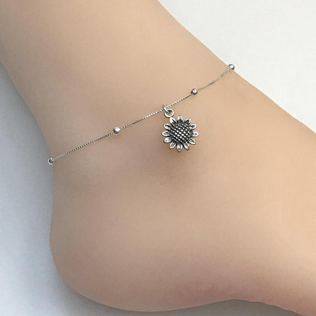Sunflower Anklet, Sterling Silver Beaded Ankle Bracelet, Sunflower Charm Anklet flower anklets Romanticwork Jewelry