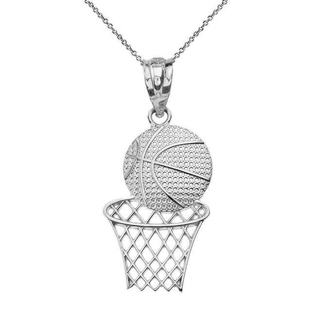 Textured 925 Sterling Silver Basketball Hoop Sports Pendant Necklace Geometric necklace Claddagh Gold 18.0 Inches
