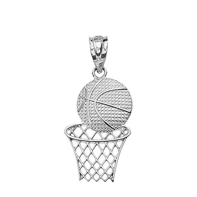 Textured 925 Sterling Silver Basketball Hoop Sports Pendant Necklace Geometric necklace Claddagh Gold