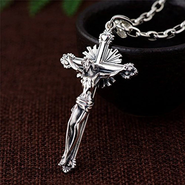 Vintage Big 925 Sterling Silver Jesus Christ Crucifix Cross Necklace Pendant for Men Women Geometric necklace FORFOX